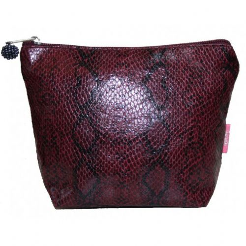 Lua Designs Snakeskin Cosmetic Bag Purse in Plum